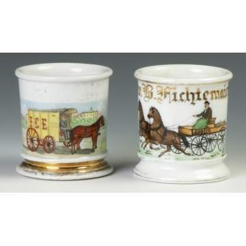 Two Vintage Occupational Shaving Mugs w/Horse Drawn Carts
