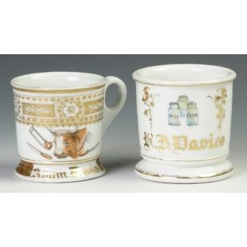 Two Vintage Occupational Shaving Mugs - Butcher & Milk & Cream Cans