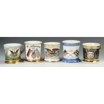 Five Vintage Patriotic/Military Occupational Shaving Mugs