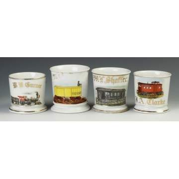 Four Vintage Railroad Occupational Shaving Mugs