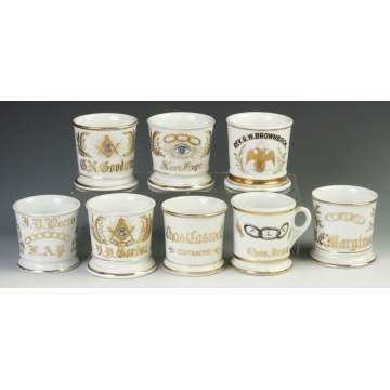 Eight Vintage Fraternity/Lodge Occupational Shaving Mugs