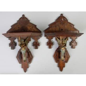 Two Similar Victorian Wall Brackets w/Patinaed Metal Figures