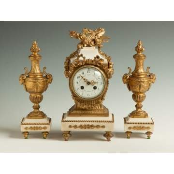 French Gilded Metal & Marble 3 Piece Clock Set