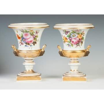 Pair of Hand Painted & Gilded Paris Urns