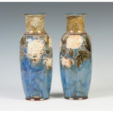 Pair of Hand Painted Royal Doulton Vases