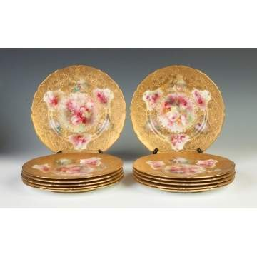 Royal Doulton Set of 12 Hand Painted & Relief Gold Leafed Plates