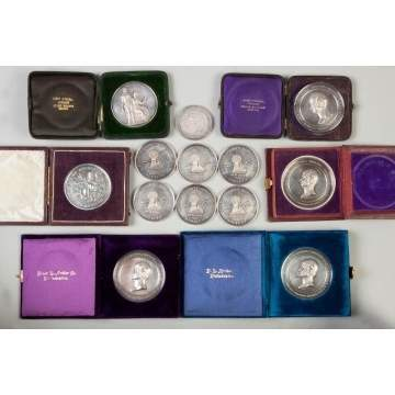 Thirteen Sterling Silver Agricultural Medals