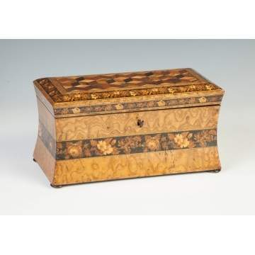 Highly Figured Burl & Inlaid Floral Tea Caddy