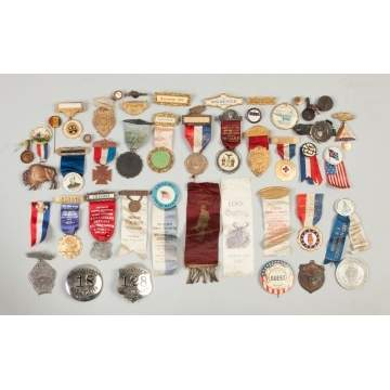 Various Vintage Campaign & Commemorative Ribbons, Buttons & Pins