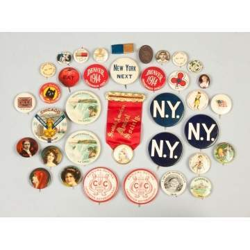 Various Vintage Advertising Buttons, etc.