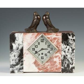 Art Deco Marble Clock w/Birds