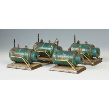 Four Hand Painted Tin Clockwork Engines