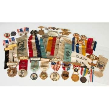 Group of Vintage Campaign Ribbons & Buttons