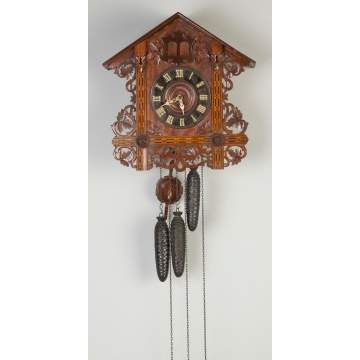 German Inlaid Walnut Cuckoo  Clock