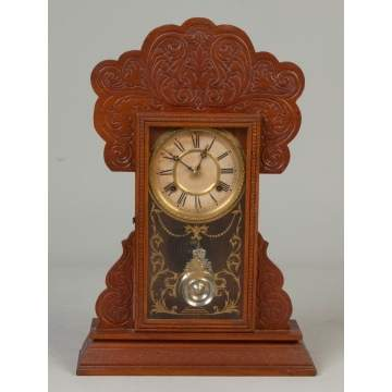 Waterbury Clock Co. Oak Kitchen Clock