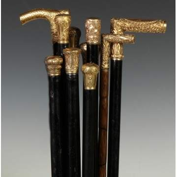 Group of Ten Canes w/Gold Plated Presentation Handles