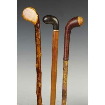 Group of Three Golf Club Shaped Canes