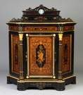 New York Ebonized Side Cabinet with Inlaid Panels, Attr. To Alexander Roux