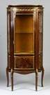 Bow Front Mahogany Vitrine with  Gilt Trim & Serpentine Sides