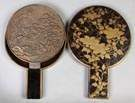 Japanese Bronze Relief Mirror in a Lacquered & Painted Case