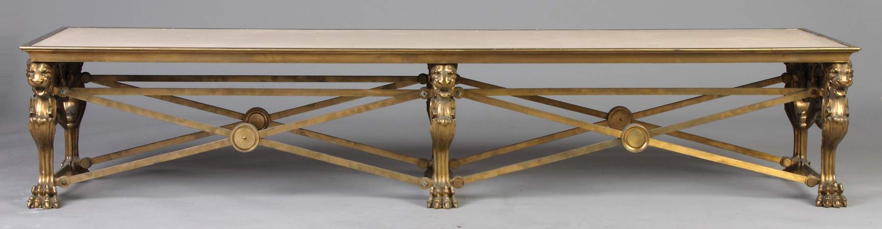 A Pair of American Lacquered Bronze Hall Benches