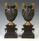 Pair of Classical Bronze & Gilt Bronze Urns on Marble Bases