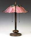 Unusual Albert Secrist Stylized Floral Panel Lamp