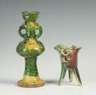 Chinese Sanci Glazed Vase & Cup