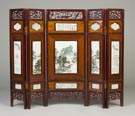 Chinese Screen with Hand Painted Porcelain Plaques