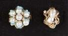 Two 14K Gold & Pearl Rings