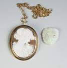 Gold & Cameo Pendant tog. with Opal Lion