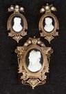 Victorian Cameo, 14K Gold & Seed Pearl Pin & Earrings