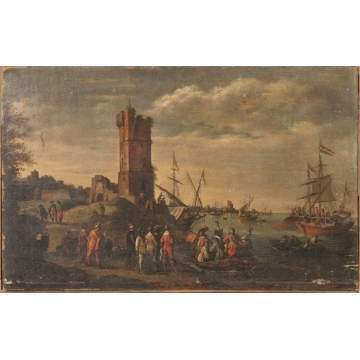 18th century Painting of Boats in Harbor