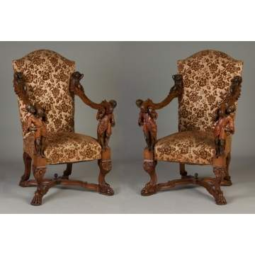 Pair of Italian Carved Walnut Chairs