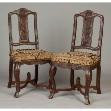 Pair of Carved Oak Side Chairs