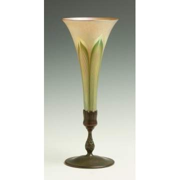 Tiffany Pulled Feather Trumpet Vase with Bronze Base