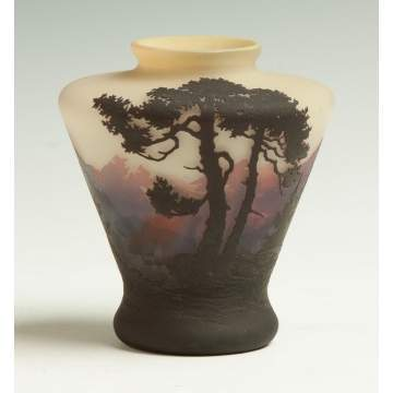 Muller Freres Cameo Vase with Mountainous Landscape