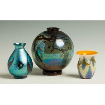 Three Art Glass Vases