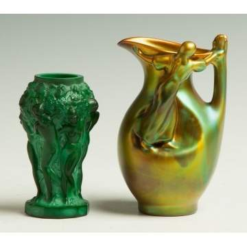 Malachite Vase & Zsolnay Pitcher