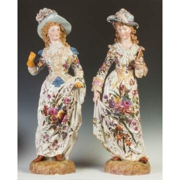 Large Pair of Porcelain Women with Hats