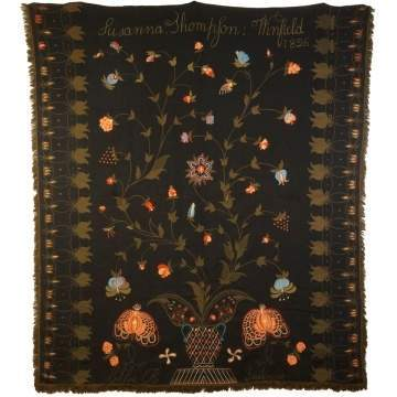 Fine & Rare Embroidered Wool Bed Cover