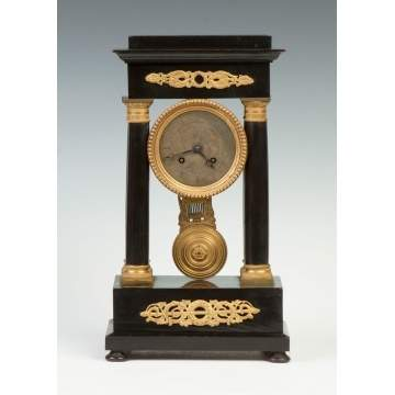French Ebonized Portico Clock