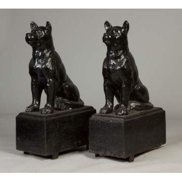 Pair of Unusual Cast Iron Seated Dogs