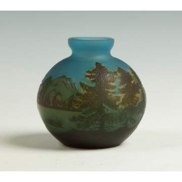 Galle Cameo Vase with Lake Scene