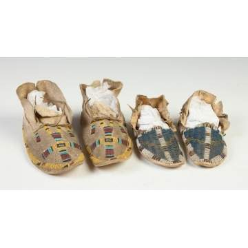 Pair of Child's Beaded & Buckskin Moccasins