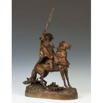 Evgenii Lanceray (Russian, 1848-1886) Bronze Sculpture of a Cossack on Horseback