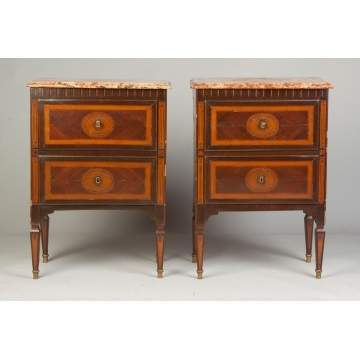 French Inlaid Marble Top Commodes