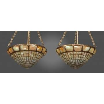 Pair of Unusual Tiffany Studios NY Turtleback Leaded Glass Hanging Domes