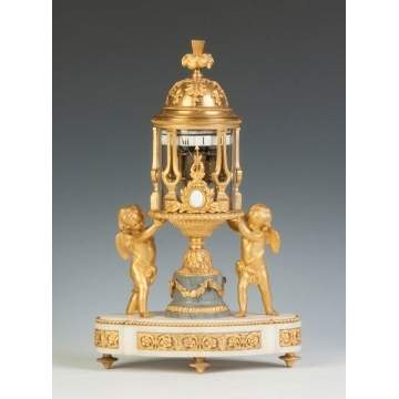 Fine French Gilt Bronze & Marble Annular Clock with Putti