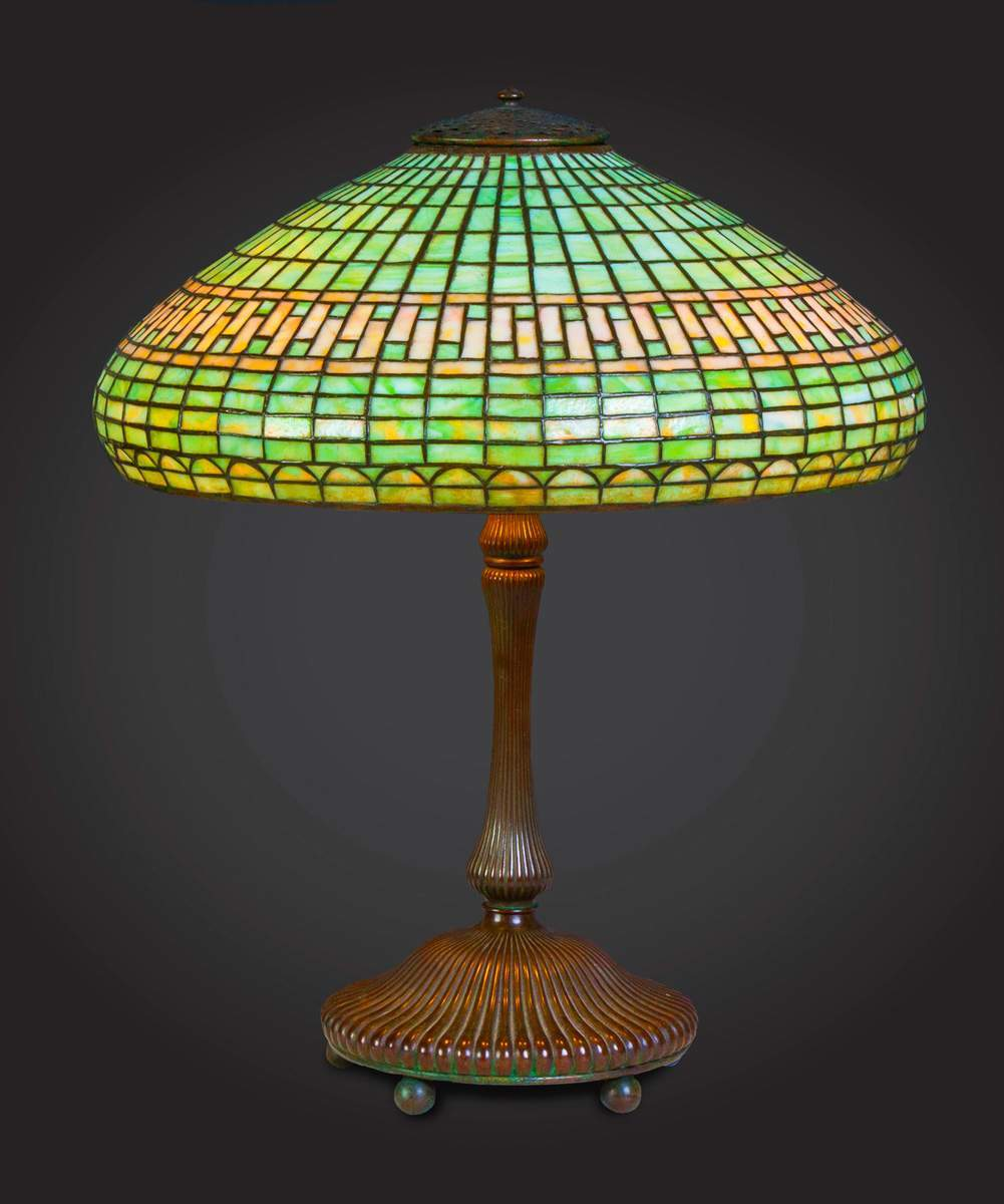 Tiffany Studios Leaded Table Lamp With Bronze Mushroom